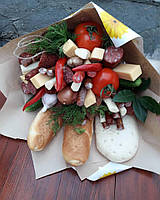 Гастрономический букет с колбаской и сыром перцами