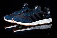 Мужские кроссовки Adidas Iniki сине – серые топ реплика