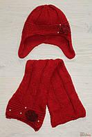 Комплект зимний красного цвета (шапка+шарф) для девочки (52 см.)  Trestelle 2000000142326