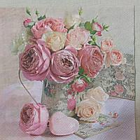 """Салфетка для декупажа """"Пионы с розами """" 33х33 см 12"""