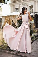 Платье Вечернее однотонное рассклешонное пудра+
