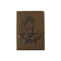Кожанная обложка для паспорта Turtle, Индианка, винтажный хаки