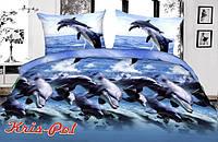 """Нежное полуторное постельное бельё """"Дельфин""""."""