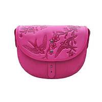 Кожаная сумка-полумесяц Turtle, Ласточки в цветах вишни, фуксия