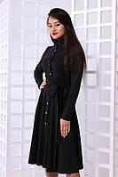 """Платье-рубашка с воротником-стойкой черное, бордо, фрез """"Рубина"""""""