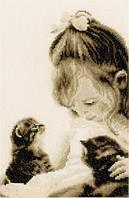 """PN-0155013 Набор для вышивки крестом Vervaco """"Девочка и котята"""""""