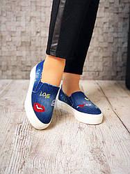 Слипоны джинсовые модные