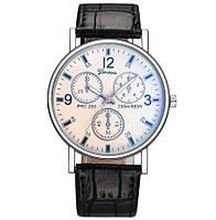 Часы мужские Mujer черный ремешок светлые/кварцевые/цвет ремешка черный