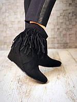 Ботинки с бахромой. Эко замша