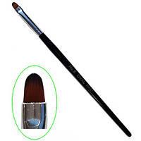 Кисть для геля с деревяной ручкой овал №6 MART