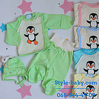 Детский комплект для новорожденного Пингвин распашонка ползунки чепчик х/б с начесом р.18,20