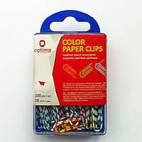 Скрепки овальные цветные 28мм пластиковый бокс