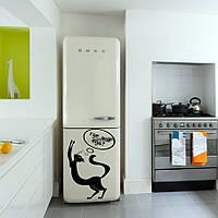 Интерьерная наклейка на холодильник Голодный кот (пленка самоклеющаяся фотопечать), фото 1