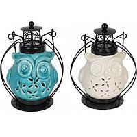 """Подсвечник - фонарь """"Сова"""" YQ023, размер 16х7 см, керамика, подсвечник для дома, декорированный подсвечник"""