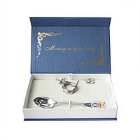 Серебряный набор Моєму Похреснику из ложки, крестика, ладанки и шнурка с разноцветной эмалью без размера 000054799