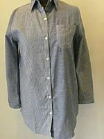 Рубашка коттон удлиненная двухцветная, два вида разных полосок, размеры 42,46 код 1172М