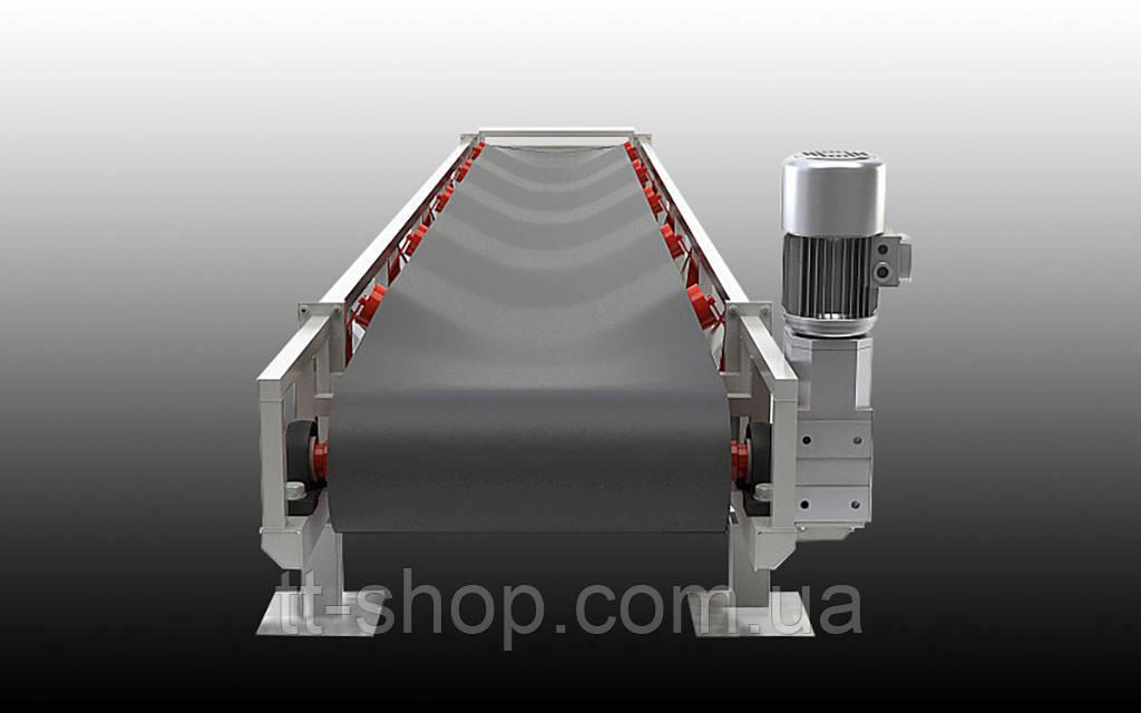 Ленточный желобчатый конвейер длинной 9 м, ширина ленты 400 мм
