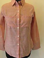 Рубашка коттон в мелкую клеточку, с длинным рукавом, размеры 42 код 1182М