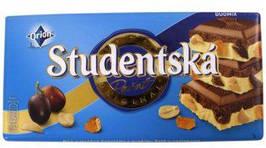 Шоколад Studentska Duomix 180гр. Бело-Молочный c изюмом и арахисом