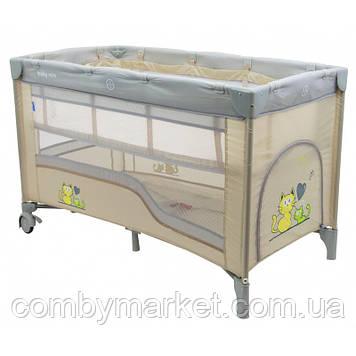 Манеж-кровать Baby Mix HR-8052-2 /2-уровневый Бежевый