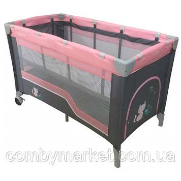 Манеж-кровать Baby Mix HR-8052-2 /2-уровневый Розовый