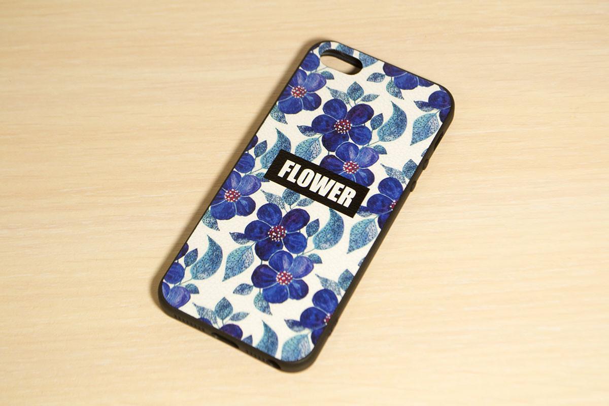 Силиконовый чехол для iPhone 5 / 5S / SE Синие цветы
