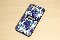 Силиконовый чехол для iPhone 5 / 5S / SE Синие цветы, фото 1