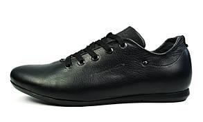 Черные мужские кожаные кроссовки комфорт GENUINE SHOES