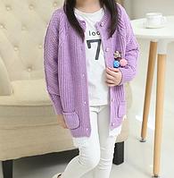 Дитячий стильний, в'язаний светр для дівчинки
