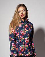 Женская демисезонная куртка. Цвет цветочный синий
