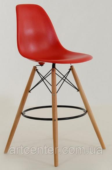 Стілець візажиста на дерев'яних ніжках, стілець для бару червоний, стілець для адміністратора(Тауер Вуд червоний)