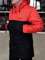 Мужская весенняя демисезонная черно-оранжевая парка (куртка) Nike CUPE, есть ОПТ