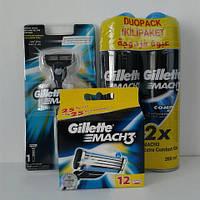 Набор для бритья Gillette Mach 3 (Жиллет Мак 3 кассеты 12 шт.+2 геля 200 мл.+станок) оригинал
