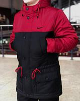 Мужская весенняя демисезонная черно-красная парка (куртка) Nike CUPE, есть ОПТ