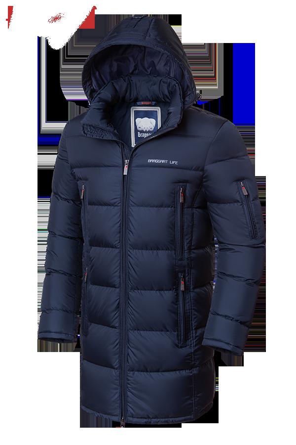 Мужская темно-синяя удлиненная зимняя куртка Braggart Dress Code (р. 46-56) арт. 2041