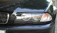 Накладка на фары, реснички прямые на BMW E46, стеклопластик, 1998-2001 г