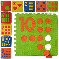 Коврик пазл цифры 0384 (коврик мозаика): 10 деталей (размер детали 60х60см)