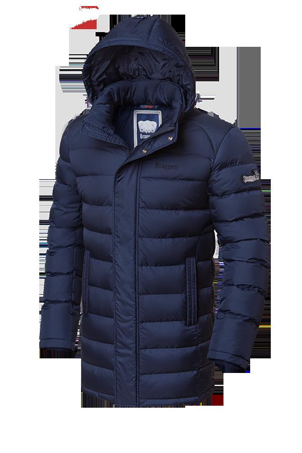 Удлиненная темно-синяя мужская зимняя куртка Braggart (р. 46-56) арт. 1572 темно-синий