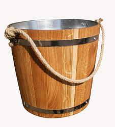 Ведро для бани 12л дуб с металлической вставкой