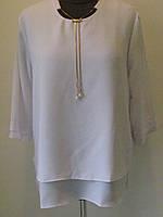 Блуза нарядная с украшением из шифона, два цвета, размеры 50,54,58 код 1185М