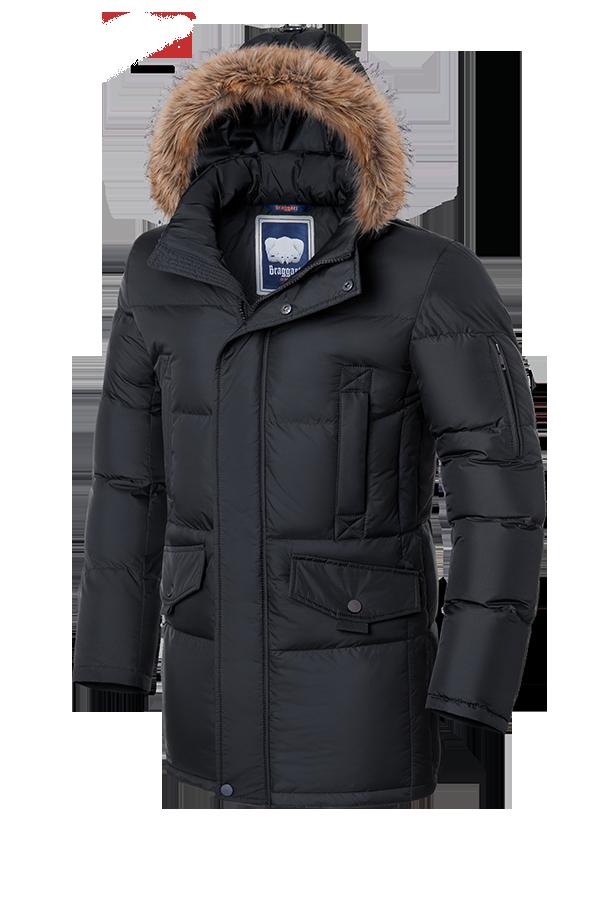 Мужская теплая зимняя куртка с мехом Braggart (р. 46-56) арт. 1005 графит