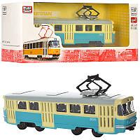 Трамвай 6411C металева, інерційна іграшка, в коробці, 19,5-5-7,5 см