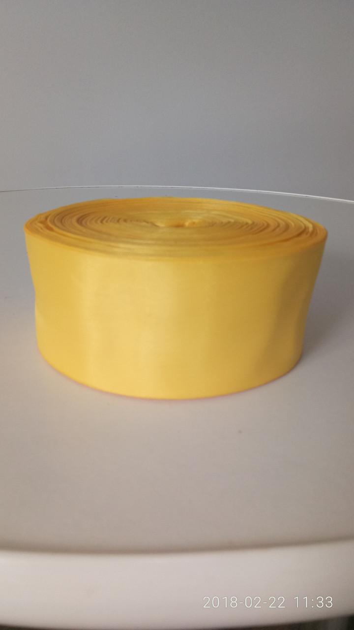 Лента желтая шелковая 5см.