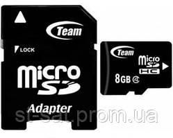Карта памяти microSDHC 8Gb Team (Class 4) + Adapter SD