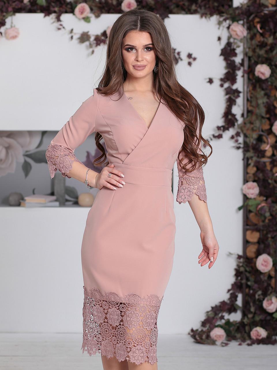 Нарядное Платье с кружевом Лорита пудра
