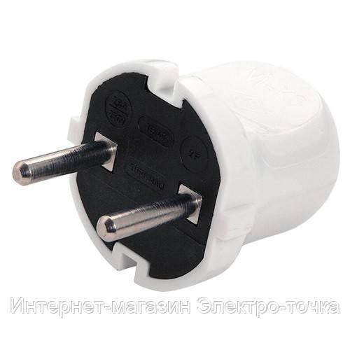 Вилка электрическая штепсельная  белая  VI-KO