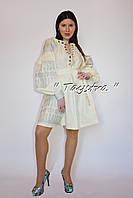 Платье Бохо вышитое, вышиванка лен, этно, стиль бохо шик, бежевое короткое платье, Bohemian, стиль Вита Кин