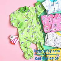 Человечек на кнопках хб ткань с рисунком одежда для новорожденных р.20,22.24,26,28