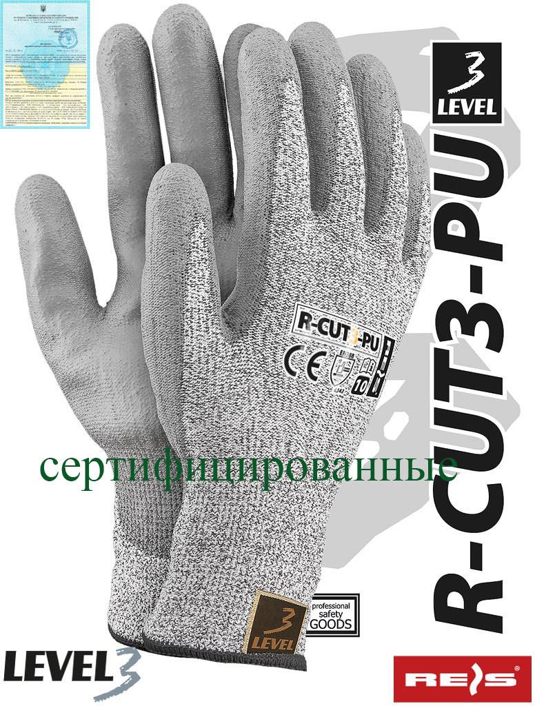 Рукавички захисні, виготовлені з пряжі HDPE R-CUT3-PU BWS