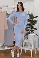 Стильное платье по фигуре длина миди с открытыми плечами и рукавом